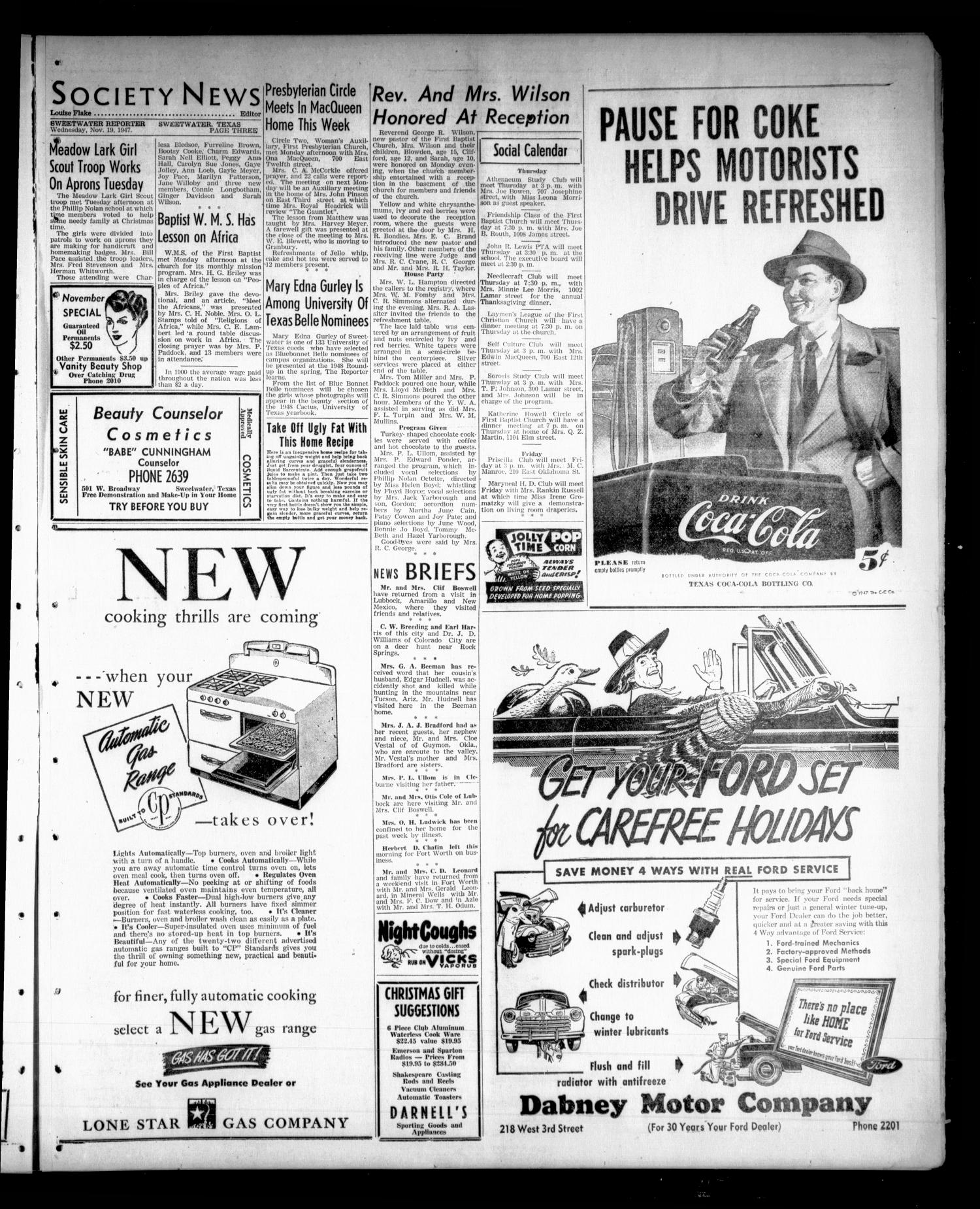 Sweetwater Reporter (Sweetwater, Tex.), Vol. 50, No. 276, Ed. 1 Wednesday, November 19, 1947                                                                                                      [Sequence #]: 3 of 6