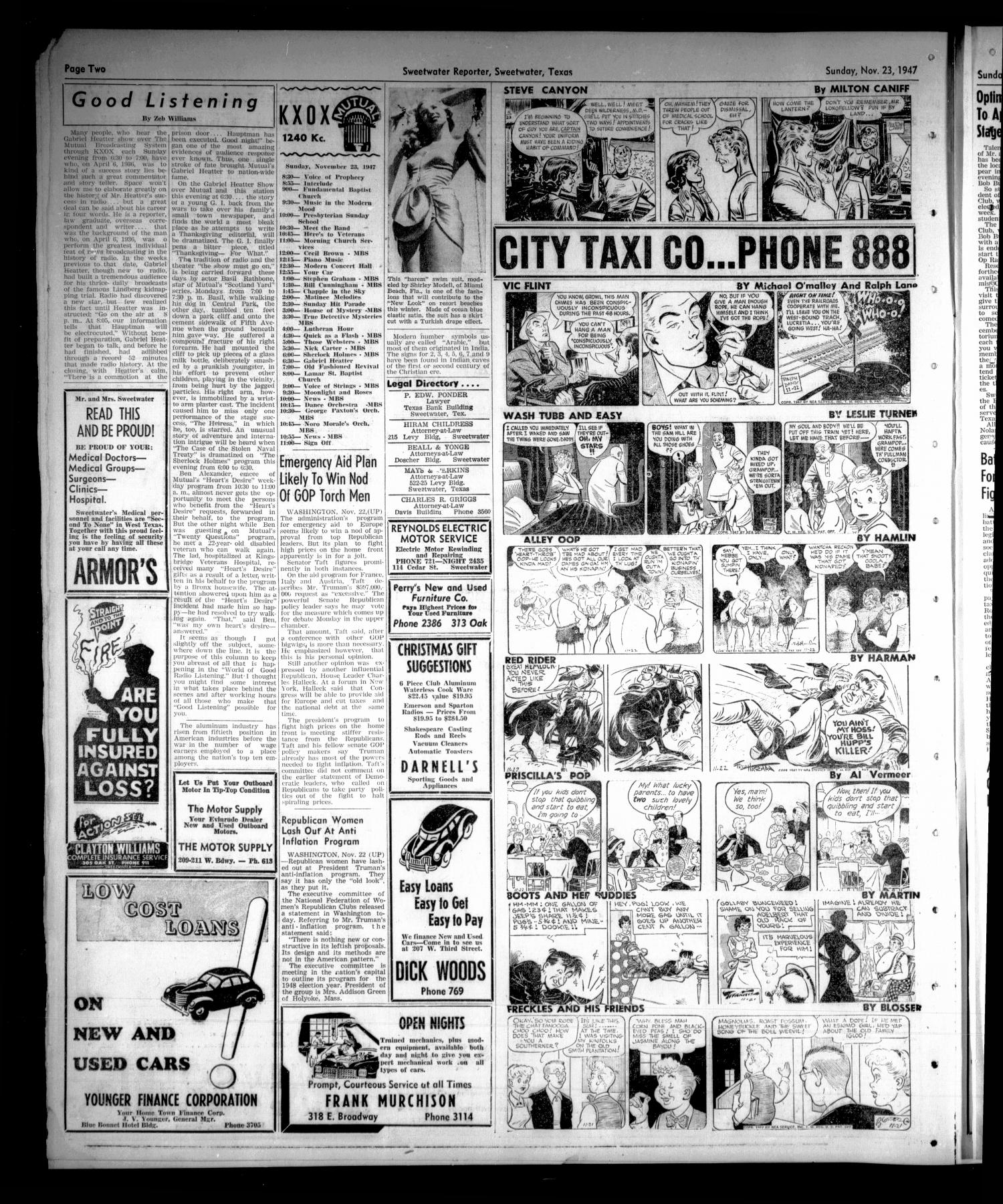 Sweetwater Reporter (Sweetwater, Tex.), Vol. 50, No. 279, Ed. 1 Sunday, November 23, 1947                                                                                                      [Sequence #]: 10 of 14