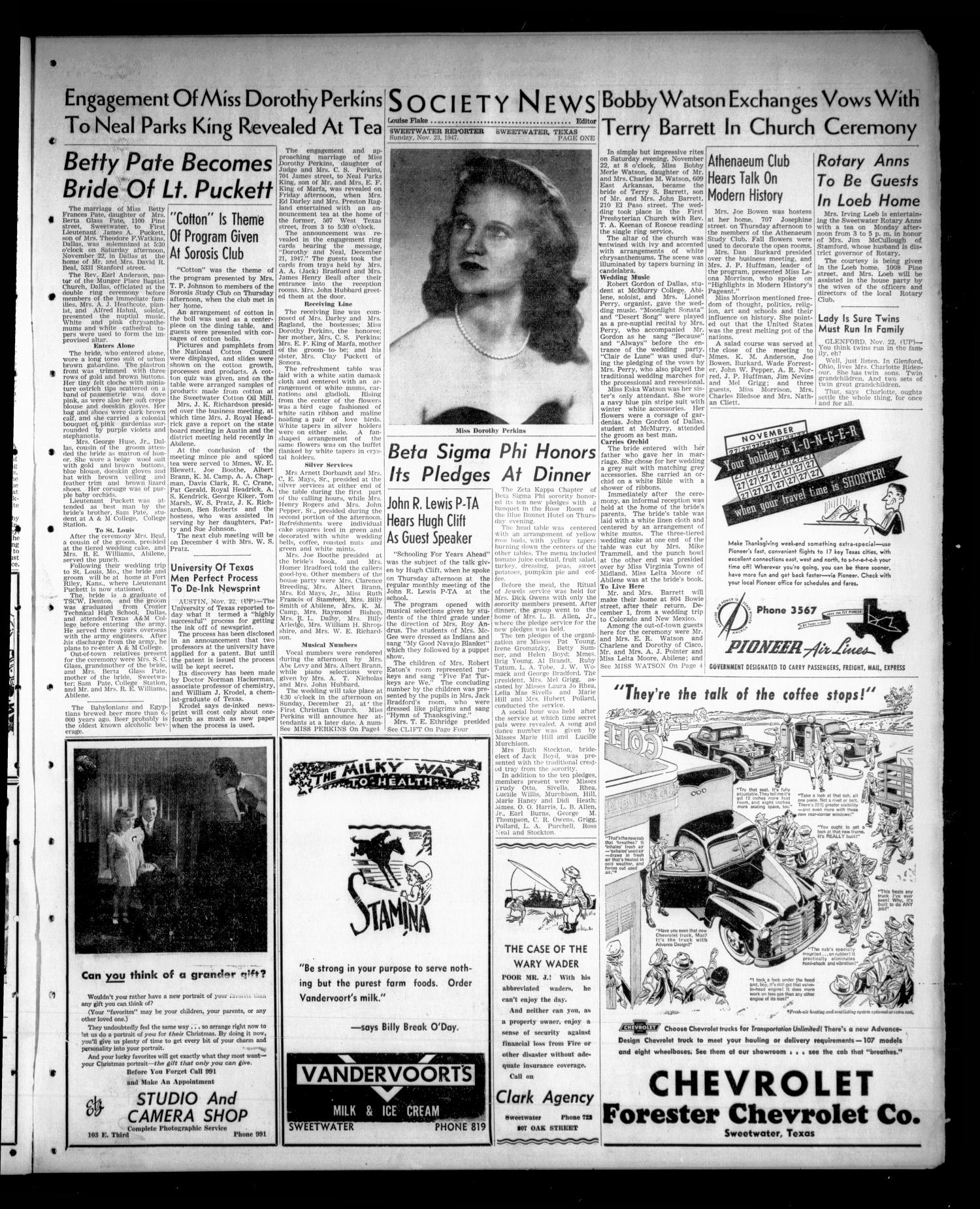 Sweetwater Reporter (Sweetwater, Tex.), Vol. 50, No. 279, Ed. 1 Sunday, November 23, 1947                                                                                                      [Sequence #]: 9 of 14