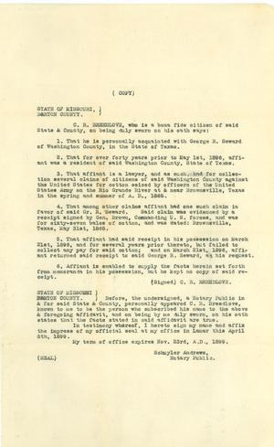 Primary view of object titled '[Breedlove Statement, Copy #2]'.