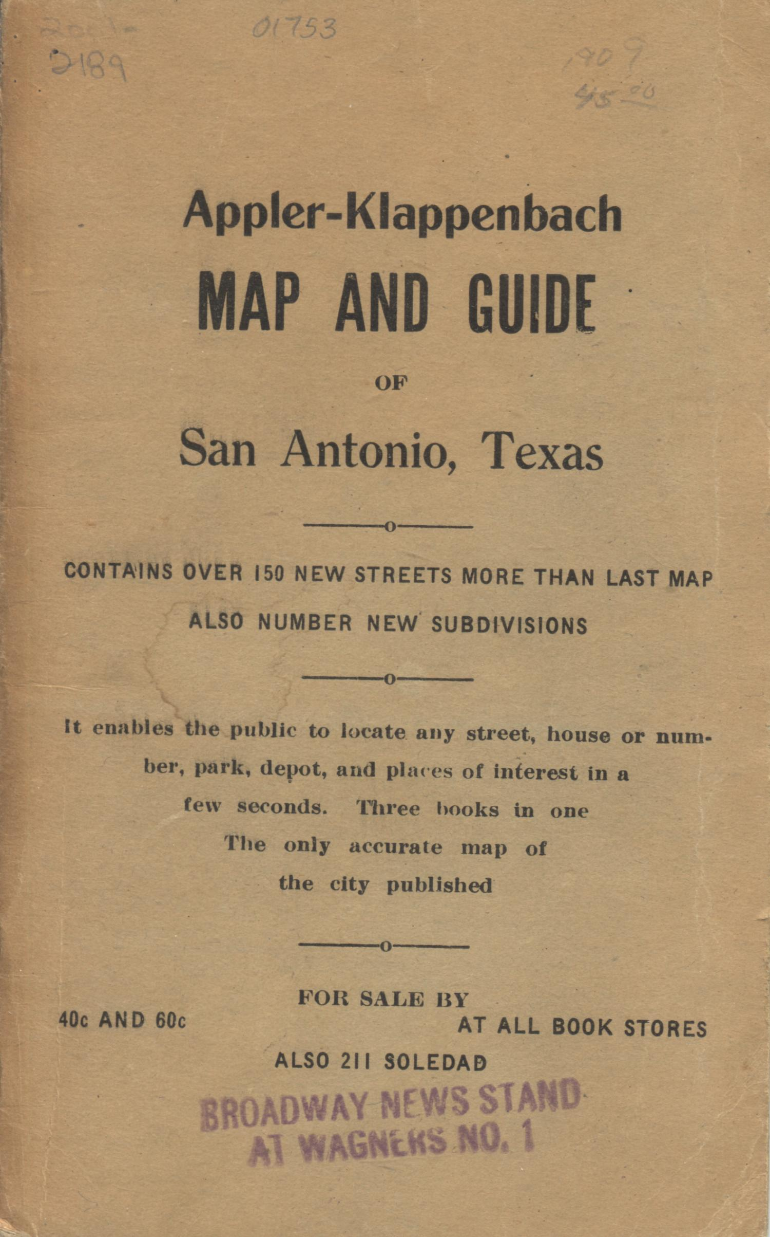 Map of San Antonio and additions [Accompanying Text]., Explanation and supporting information related to map that shows early twentieth century San Antonio, Texas street names, railroads, neighborhoods, parks, country clubs, cemeteries, and some buildings, institutions, and businesses.,