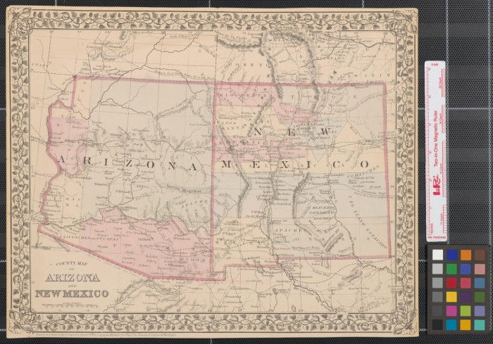 County map of Arizona and New Mexico. - The Portal to Texas History