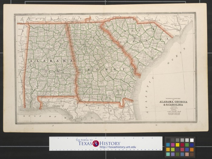 Map Of Georgia Alabama.Railroad County Map Of Alabama Georgia S Carolina The