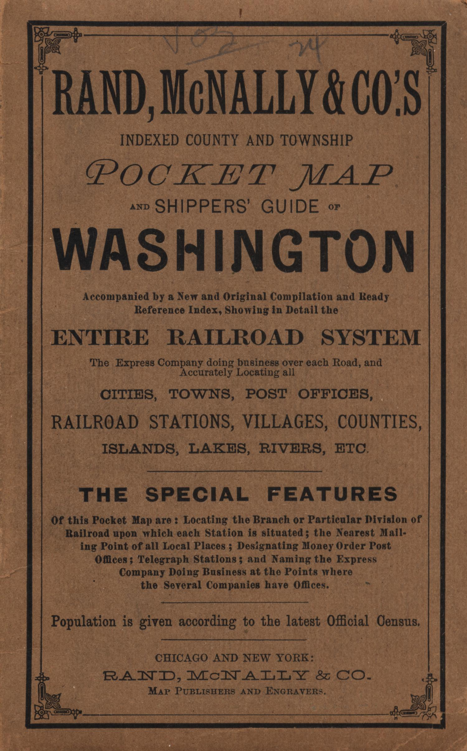 Rand, McNally & Co.s indexed county and township pocket map and shippers guide of Washington [Accompanying Text]., Explanation and supporting information related to map that shows late nineteenth century Washington counties, township grid, Native American reservations, railroads, national parks, and notable physical features.,