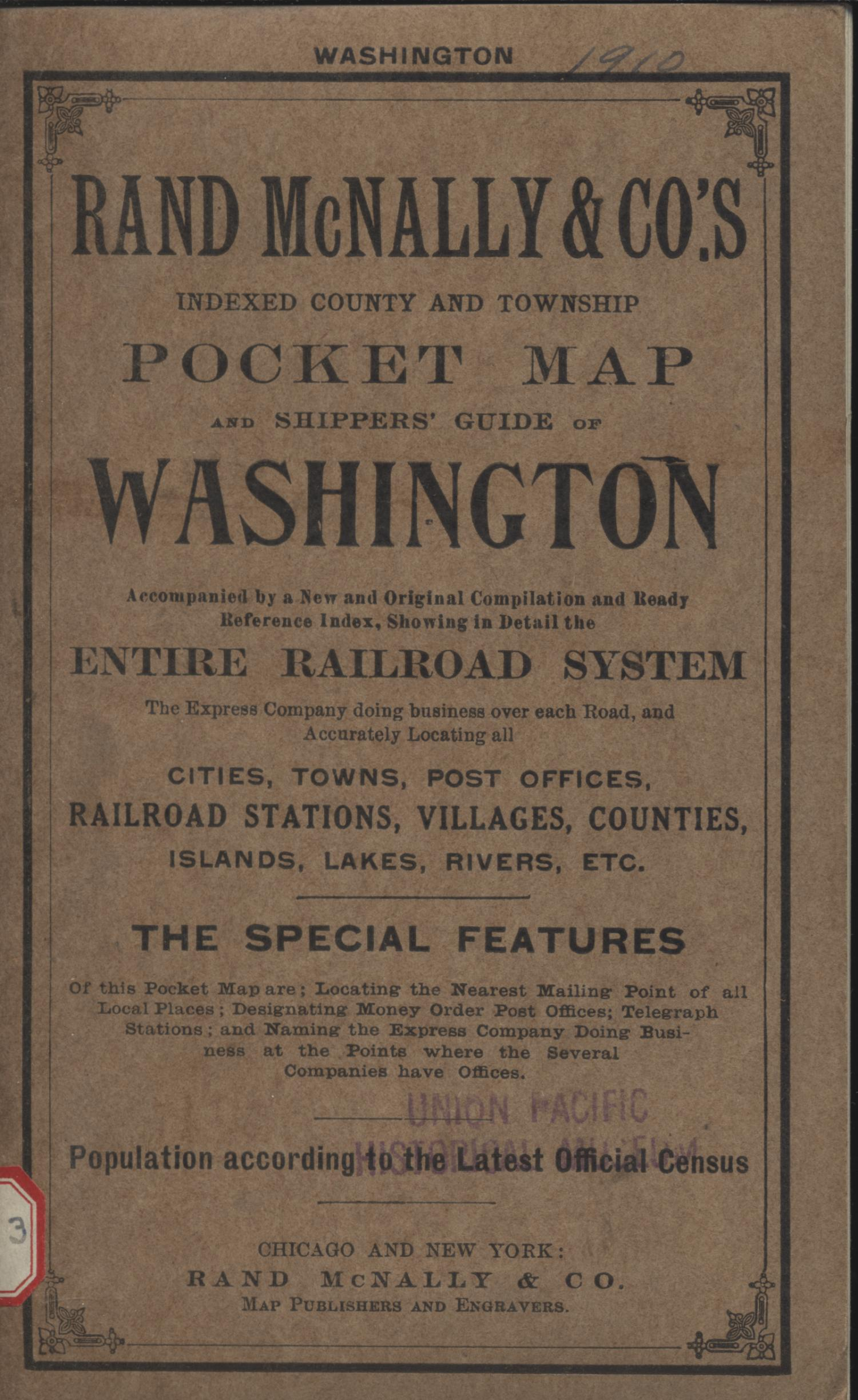 Rand McNally & Co.s new business atlas map of Washington., Explanation and supporting information related to map that shows early nineteenth century Washington counties, township grid, Native American reservations, railroads, national parks, and notable physical features.,