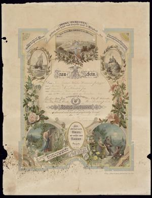 Primary view of object titled 'Marriage certificate in German'.