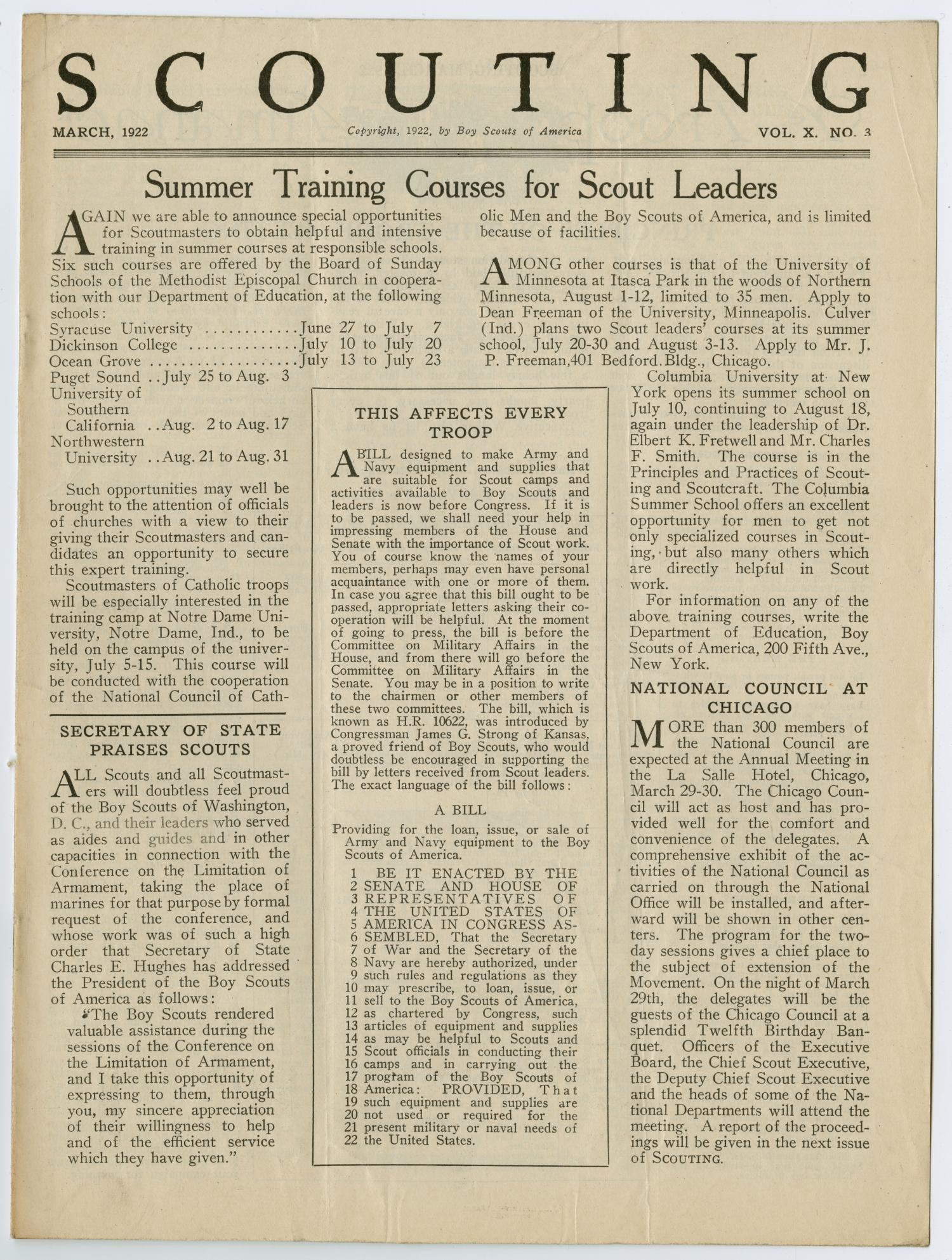 Scouting, Volume 10, Number 3, March 1922                                                                                                      1