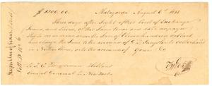 [Bank draft to T.C. Zimmerman, Holland, from T.G. Wick, Matagorda]