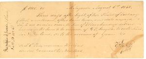 Primary view of object titled '[Bank draft to T. C. Zimmerman, Holland, from T. G. Wick, Matagorda]'.