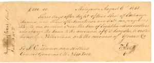 [Bank draft to T. C. Zimmerman, Holland, from T. G. Wick, Matagorda]