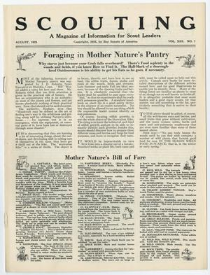 Primary view of Scouting, Volume 13, Number 7, August 1925