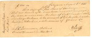[Bank draft from T. G. Wick, Matagorda, Texas to T. C. Zimmerman, Holland]