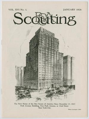 Primary view of object titled 'Scouting, Volume 16, Number 1, January 1928'.