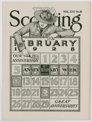 Primary view of object titled 'Scouting, Volume 16, Number 2, February 1928'.
