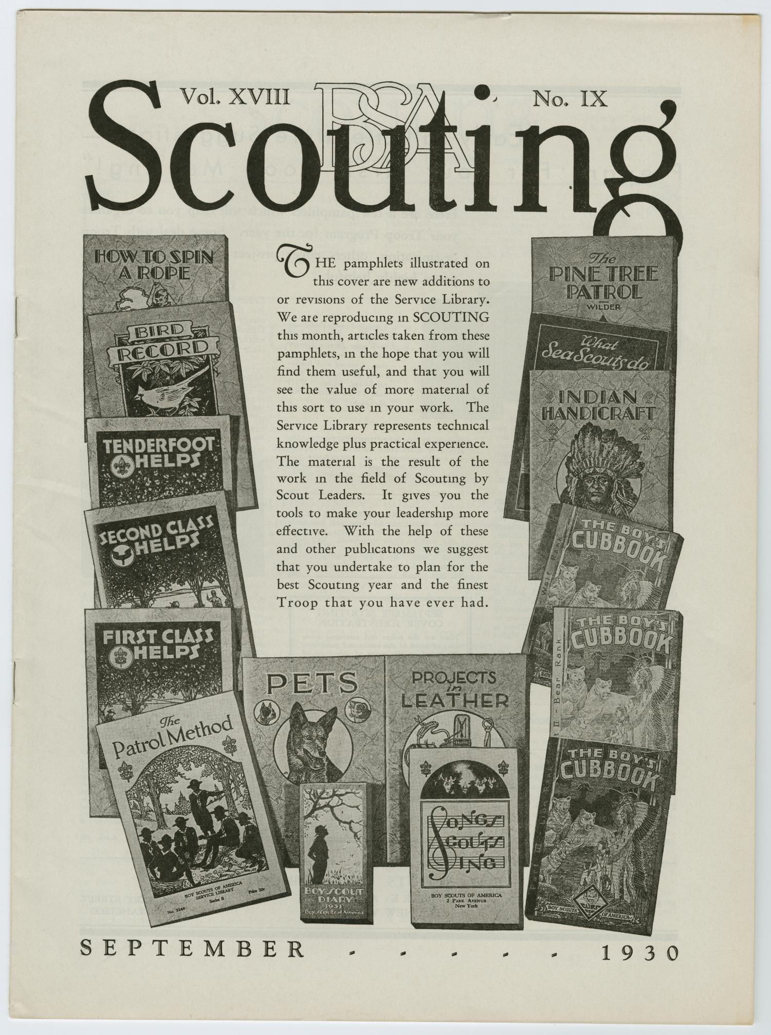 Scouting, Volume 18, Number 9, September 1930                                                                                                      229