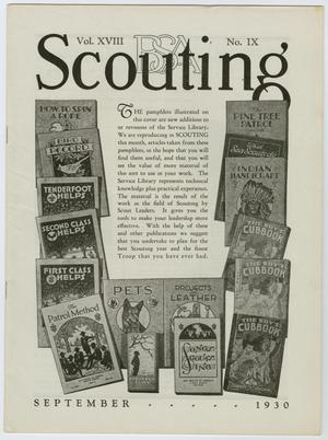 Primary view of object titled 'Scouting, Volume 18, Number 9, September 1930'.