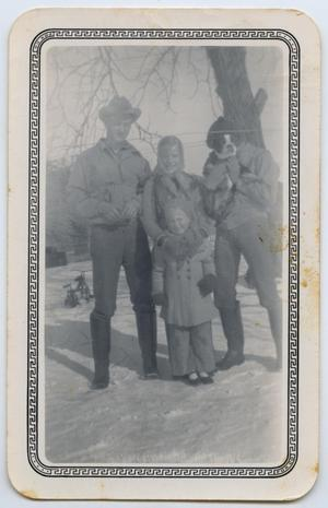 Primary view of object titled '[Photograph of Tarver Family in Snow]'.