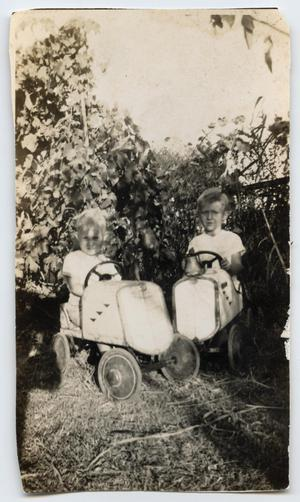 [Wendell and Walden Tarver in Pedal Cars]
