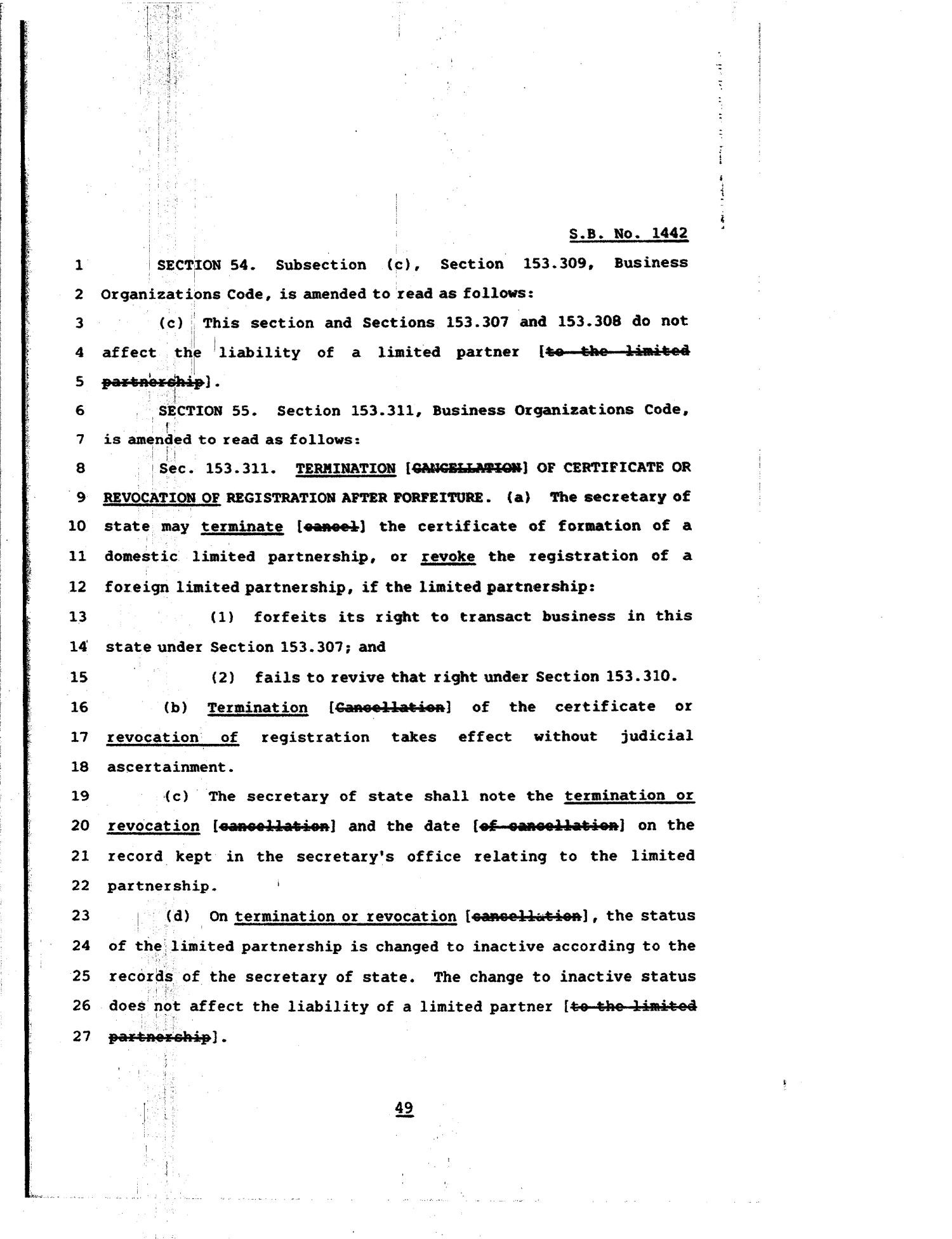 81st Texas Legislature, Regular Session, Senate Bill 1442, Chapter 84                                                                                                      [Sequence #]: 49 of 64