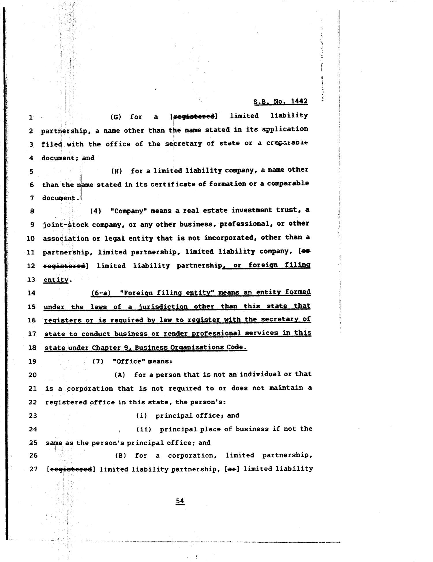 81st Texas Legislature, Regular Session, Senate Bill 1442, Chapter 84                                                                                                      [Sequence #]: 54 of 64
