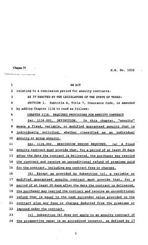 Primary view of object titled '82nd Texas Legislature, Regular Session, House Bill 1032, Chapter 77'.