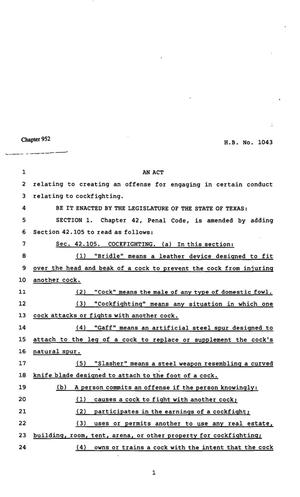 Primary view of object titled '82nd Texas Legislature, Regular Session, House Bill 1043, Chapter 952'.