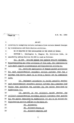 Primary view of object titled '82nd Texas Legislature, Regular Session, House Bill 1064, Chapter 150'.