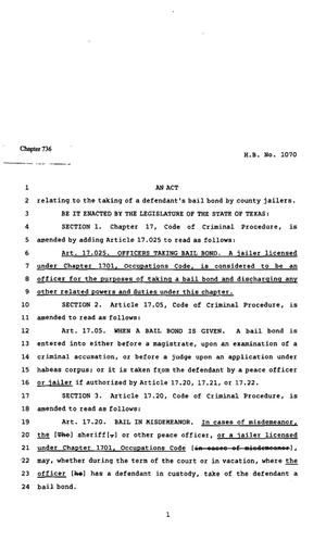Primary view of object titled '82nd Texas Legislature, Regular Session, House Bill 1070, Chapter 736'.