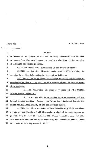 Primary view of object titled '82nd Texas Legislature, Regular Session, House Bill 1080, Chapter 955'.