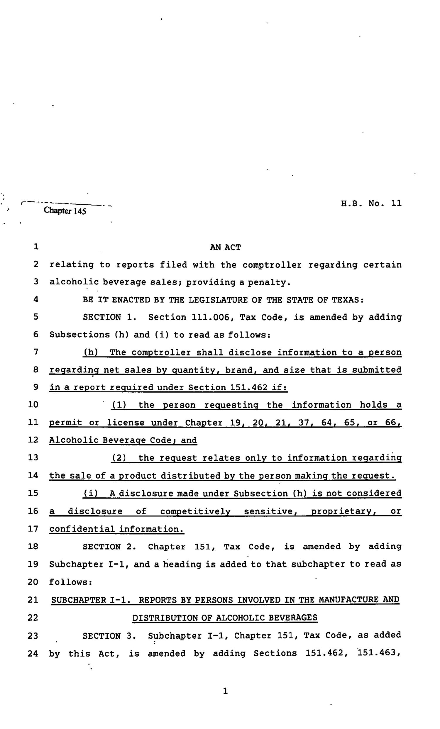 82nd Texas Legislature, Regular Session, House BIll 11, Chapter 145                                                                                                      [Sequence #]: 1 of 10