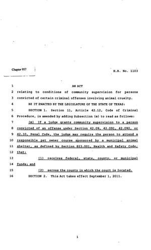Primary view of object titled '82nd Texas Legislature, Regular Session, House Bill 1103, Chapter 957'.