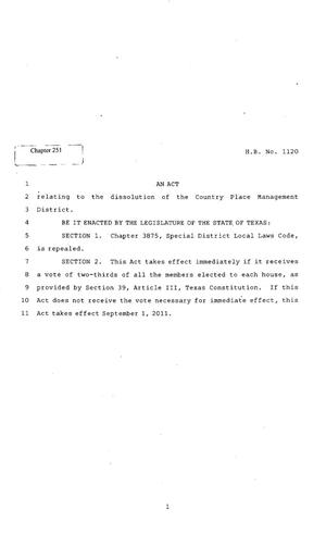 Primary view of object titled '82nd Texas Legislature, Regular Session, House Bill 1120, Chapter 251'.