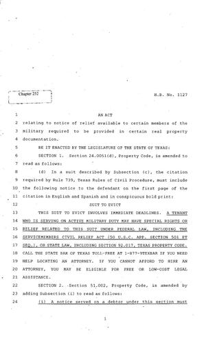 Primary view of object titled '82nd Texas Legislature, Regular Session, House BIll 1127, Chapter 252'.