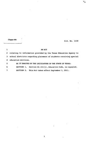 Primary view of object titled '82nd Texas Legislature, Regular Session, House Bill 1130, Chapter 494'.