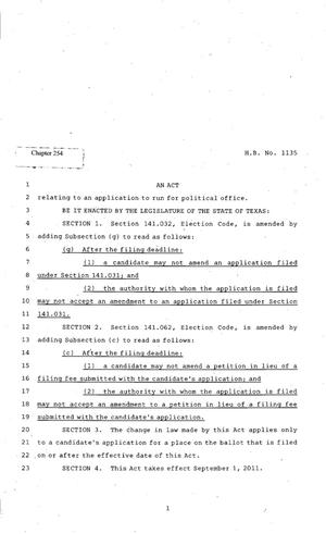 Primary view of object titled '82nd Texas Legislature, Regular Session, House Bill 1135, Chapter 254'.