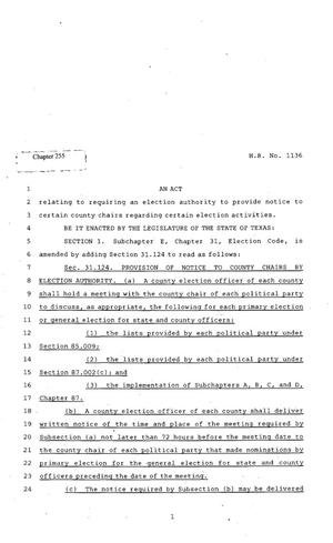 Primary view of object titled '82nd Texas Legislature, Regular Session, House Bill 1136, Chapter 255'.