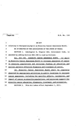 Primary view of object titled '82nd Texas Legislature, Regular Session, House Bill 114, Chapter 202'.