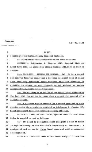 Primary view of object titled '82nd Texas Legislature, Regular Session, House Bill 1144, Chapter 743'.