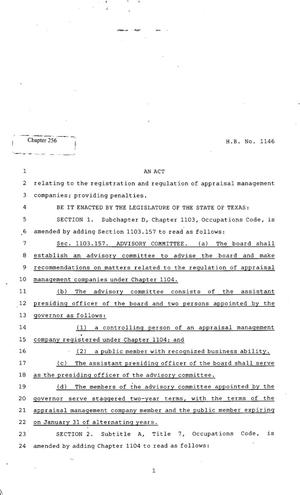 Primary view of object titled '82nd Texas Legislature, Regular Session, House Bill 1146, Chapter 256'.