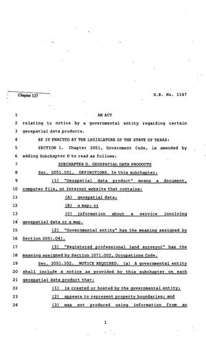 Primary view of object titled '82nd Texas Legislature, Regular Session, House Bill 1147, Chapter 127'.