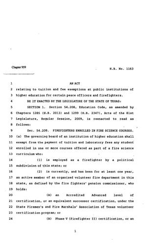 Primary view of object titled '82nd Texas Legislature, Regular Session, House Bill 1163, Chapter 959'.