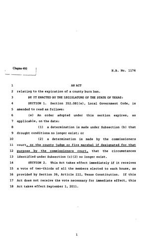 Primary view of object titled '82nd Texas Legislature, Regular Session, House Bill 1174, Chapter 495'.