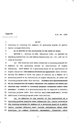 Primary view of object titled '82nd Texas Legislature, Regular Session, House Bill 1206, Chapter 962'.