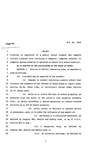 Primary view of object titled '82nd Texas Legislature, Regular Session, House Bill 1224, Chapter 963'.
