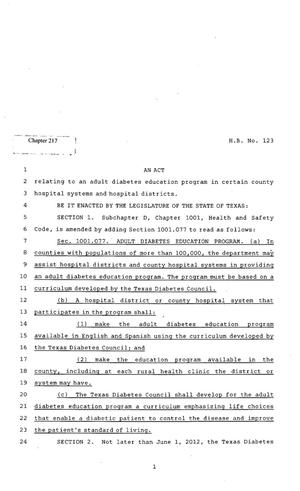Primary view of object titled '82nd Texas Legislature, Regular Session, House Bill 123, Chapter 217'.
