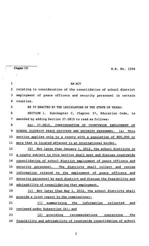 Primary view of object titled '82nd Texas Legislature, Regular Session, House Bill 1254, Chapter 151'.