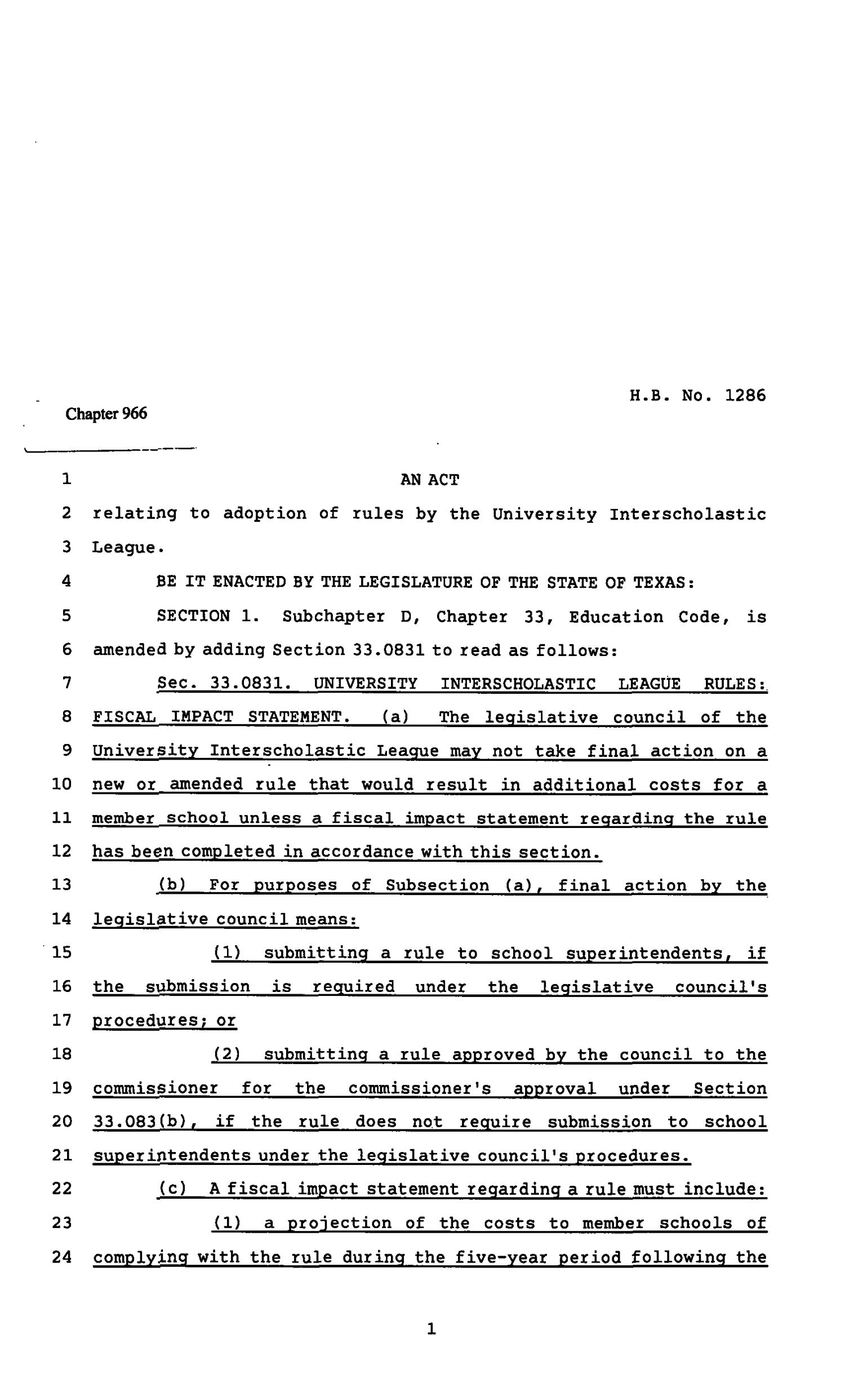 82nd Texas Legislature, Regular Session, House Bill 1286, Chapter 1183                                                                                                      [Sequence #]: 1 of 4