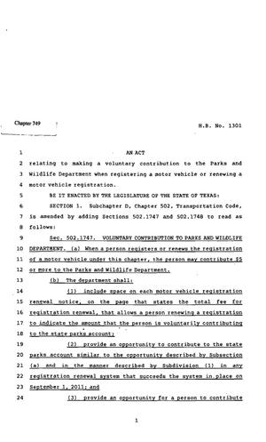 Primary view of object titled '82nd Texas Legislature, Regular Session, House Bill 1301, Chapter 749'.