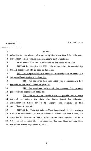 Primary view of object titled '82nd Texas Legislature, Regular Session, House Bill 1334, Chapter 968'.