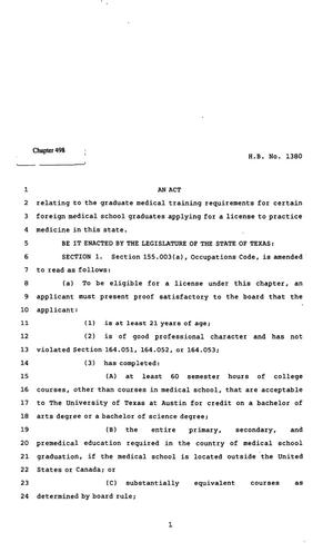 Primary view of object titled '82nd Texas Legislature, Regular Session, House Bill 1380, Chapter 498'.